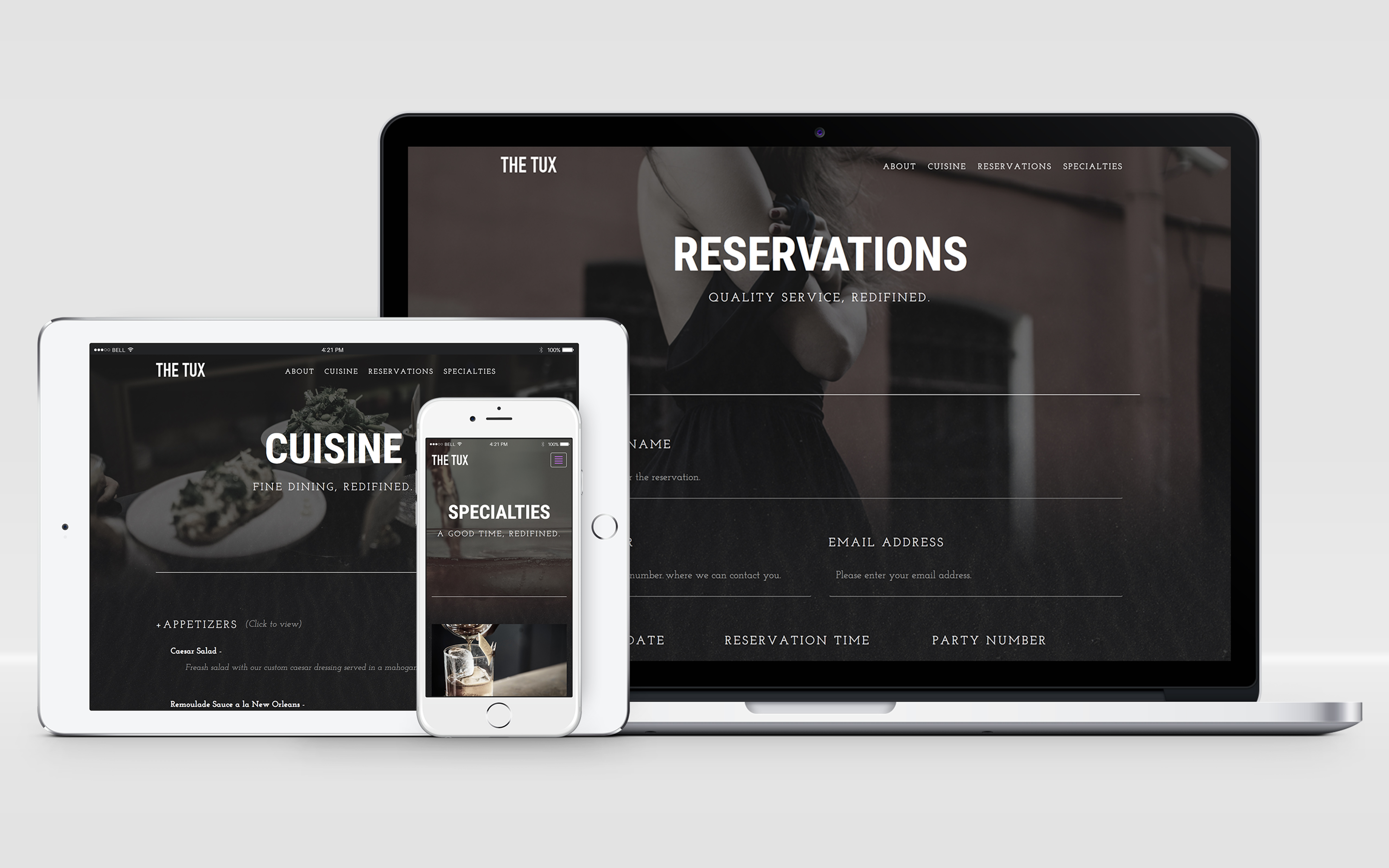 Resturant website design and branding